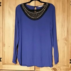 Chesley &Violet Gold Beaded Violet Blouse